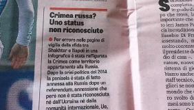 Італійська спортивна газета спростувала інформацію, що Крим є територією Росії