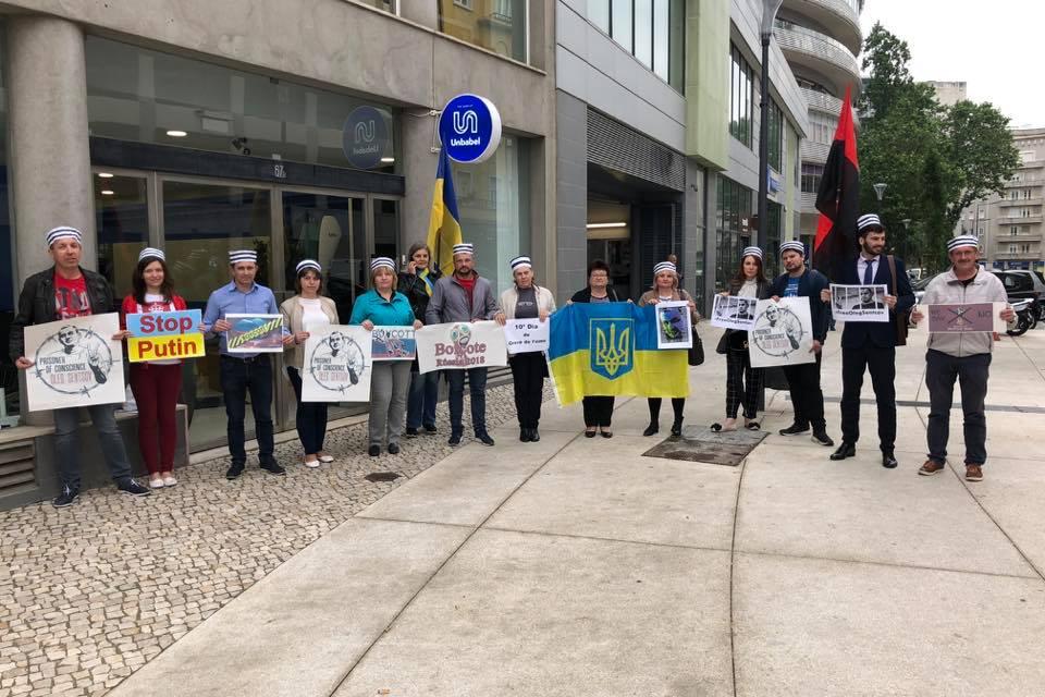 У Лісабоні українська громада провела акцію на підтримку Олега Сенцова (ВІДЕО)