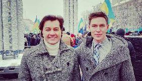 Дмитро Хоркін та Євген Нищук ведуть захід на Софійській площі в очікуванні рішення об'єднавчого Собору православних церков
