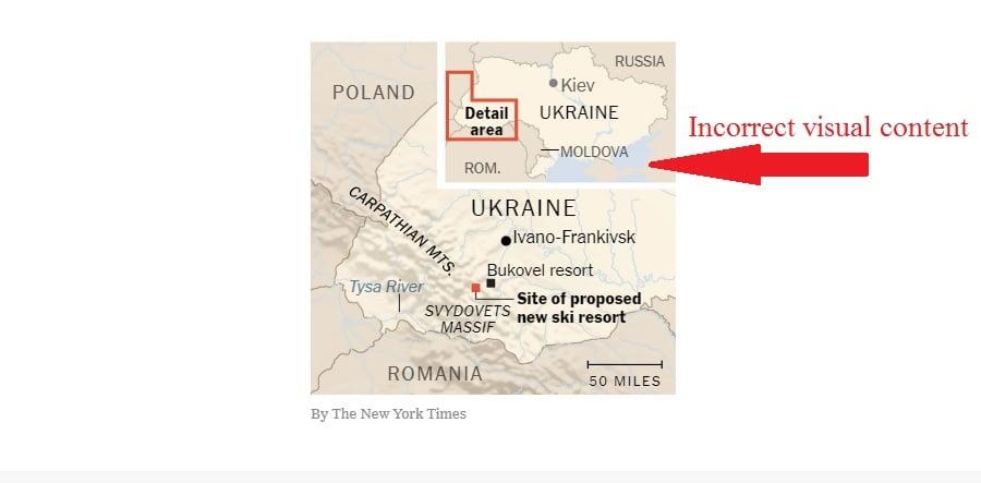 Газета The New York Times оприлюднила карту України без Криму