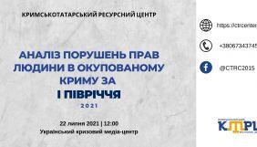 22 липня — презентація аналізу порушень прав людини в окупованому Криму за I півріччя 2021 року