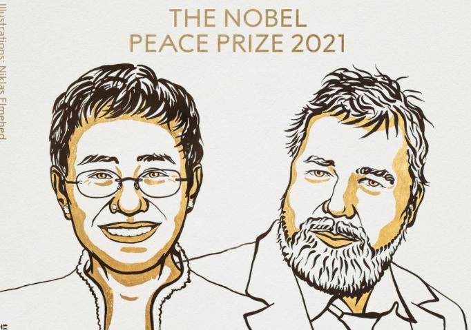 Нобелівську премію миру отримали головред російської «Нової газети» і філіппінська журналістка